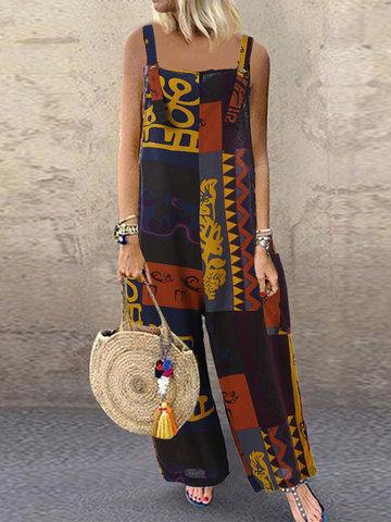 Bohemian Ethnic Print Jumpsuit