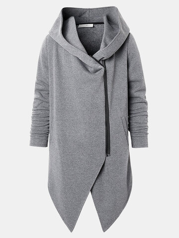 Plain Zipper Front Hooded Jackets