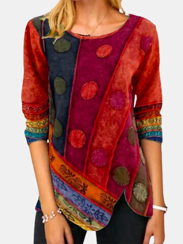 Asymmetrical Ethnic Print O-neck Blouse