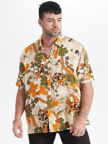 Plus Size Vintage Floral Print Shirt