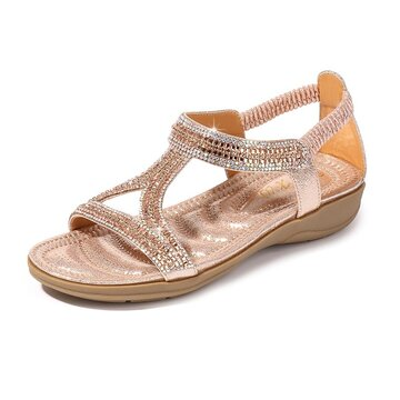 Large Size Sequined Slip On Sandals