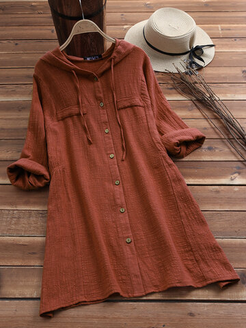 Solid Color Drawstring Hooded Blouse