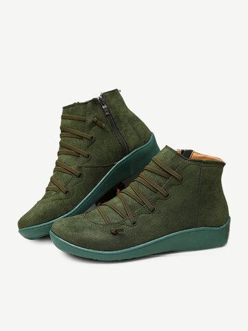 Leopard Suede Side Zipper Casual Flat Boots