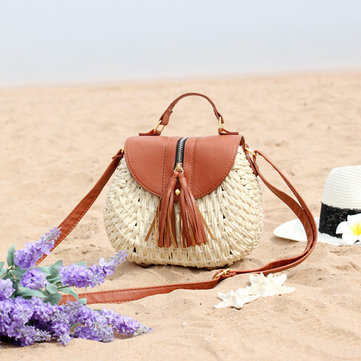 Women Travel Straw Beach Bags Tassel Crossbody Bags