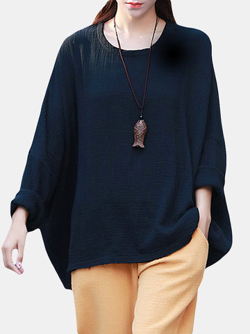 Bat Sleeve Irregular Blouse