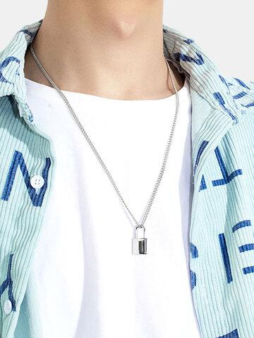 Metal Lock Pendant Necklace