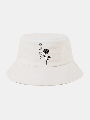 Unisex Rose Embroidery Bucket Hat