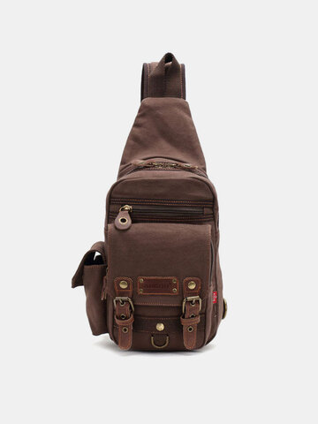 Genuine Leather And Canvas Travel Outdoor Carrying Bag Personal Crossbody Bag Chest Bag
