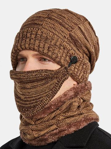 Men 3PCS Plus Velvet Neck Face Protection Knitted Hat Scarf Mask