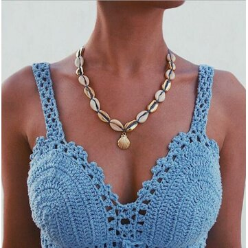 Shell Metal Beaded Clavicle Necklace