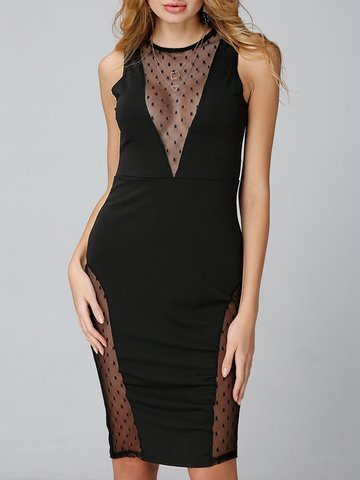 Sexy Bodycon Polka Dot Mesh Patchwork Sleeveless Women Dress