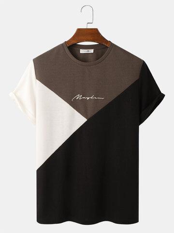 Dreifarbiges Strick-T-Shirt mit Stickerei