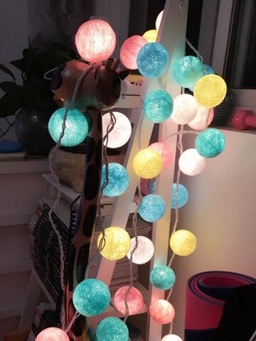 Battery Operated 10/20/30 Cotton Balls Fairy Led String Lights Party Patio Wedding Christmas Decor