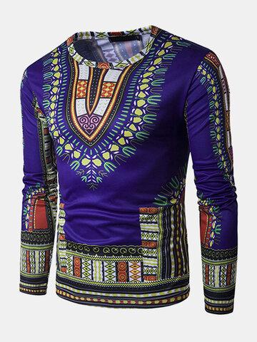 Африка Цветочная 3D-печать Тонкий Fit T Рубашка