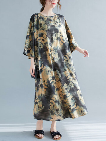 Vintage Flower Print Bell Sleeve Dress
