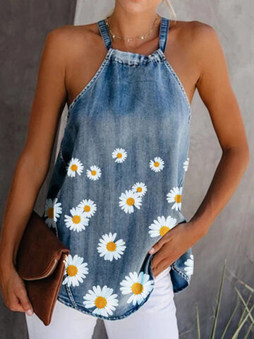 Daisy Floral Print Tank Tops