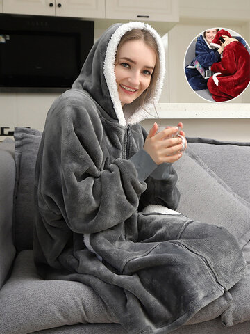 Zip Front Double-Plush Blanket Hoodie