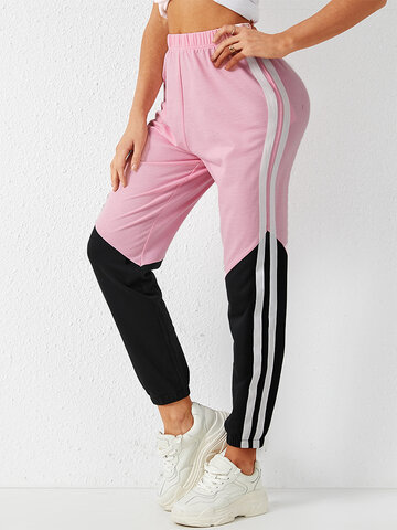 Contrast Color Striped Casual Pants