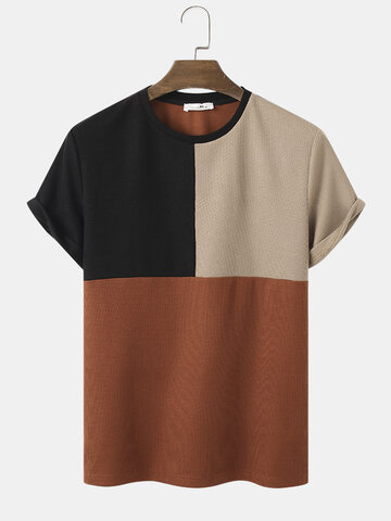 Color Block Stitching Textured T-Shirts