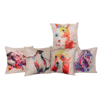 Animal Pattern Cushion Cover Linen Cat Dog For Home Decor, White