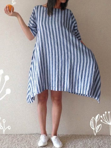 Vintage Striped Irregular Dress