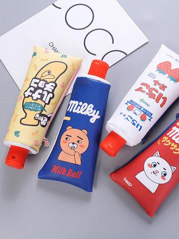 Cartoon Toothpaste Shape Pencil Case Storage Organizer Bag
