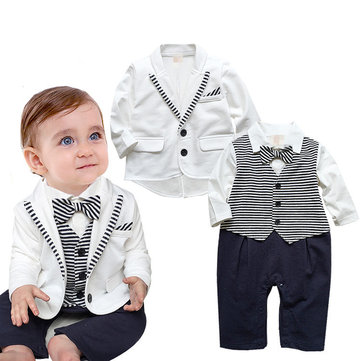 2pcs White Formal Baby Romper Suit For 0-24M
