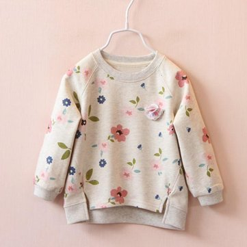 Kids Flowers Printed O-neck Long Sleeve Shirts