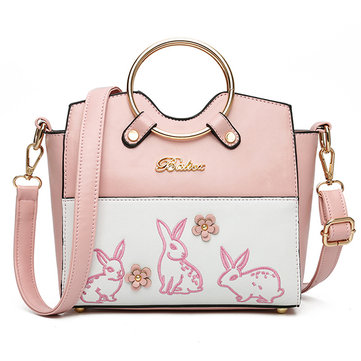 Women Rabbit Pattern Patchwork Handbag