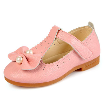 Cute Pure Color Bowknot Little Girl Dress Shoes