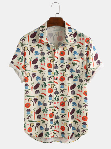 Mens Lovely Vegetable Cartoon Print Chest Pocket Short Sleeve Shirts