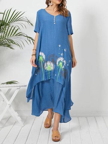 فستان بطبعات كاليكو برقبة على شكل V