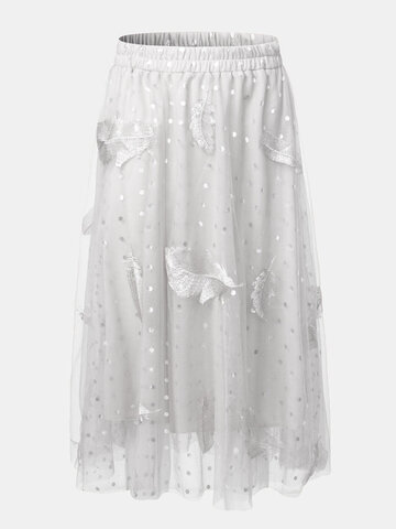 Feather Embroidery Dot Print Tulle Skirt