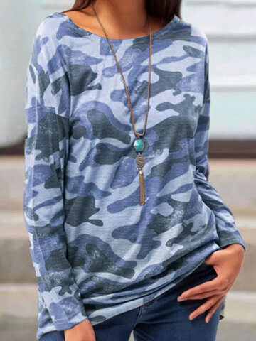 Camouflage Printed O-neck T-shirt