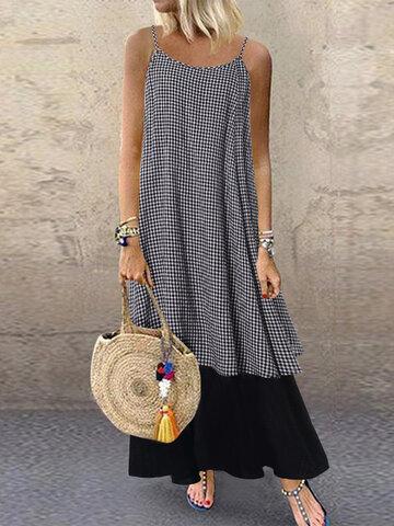 Kariertes Patchwork Sommer Kleid