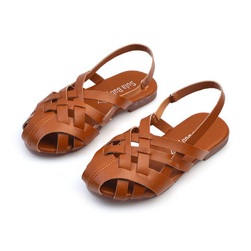 Girls Weaving Slingback Comfy Flat Sandals