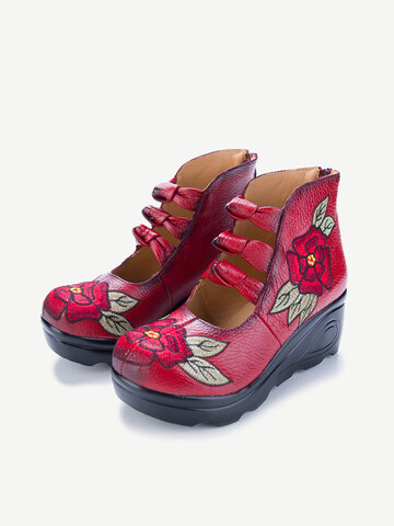 Embroidered Zipper Folkways Shoes