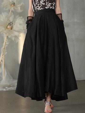 Solid Color Elastic Waist Skirt