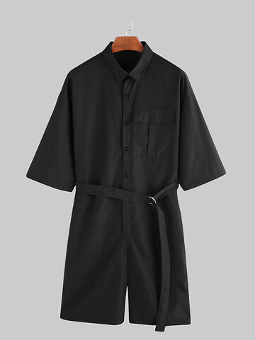 Short Sleeve Jumpsuits Cargo Rompers