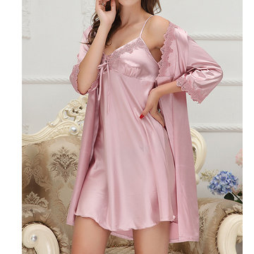 Silky Soft Two Piece Slip Dress Robes Sleepwear Suit