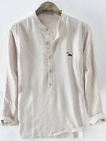 Cotton Dog Embroidery Striped Henley Shirt