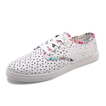Breathable Hollow Mixed Colors Flat Shoes
