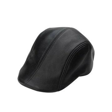 Черная кожаная кепка из овчины