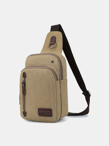 Men Canvas Casual Outdoor Sports Shopping Chest Bags Shoudler Bags