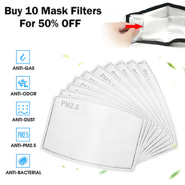 PM2.5 P2 Face Mask Filter Buy Ten For 50% Discount