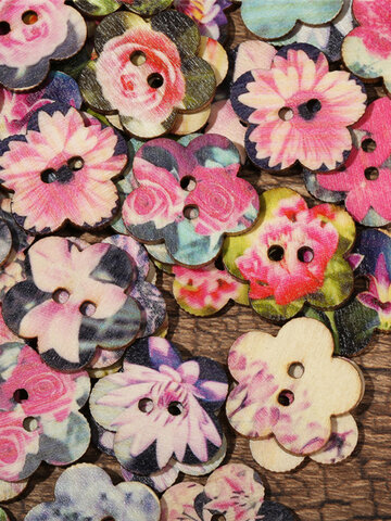 Flower Shaped Wooden Decoration Sewing Buttons