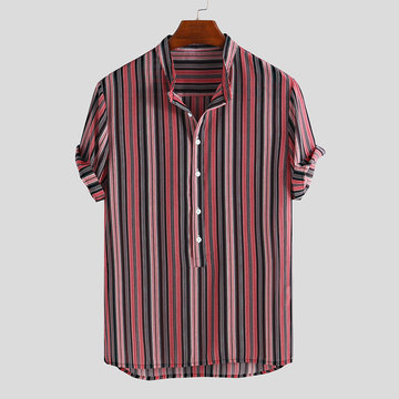 Mens Summer Hit Color Stripe Henley Shirts