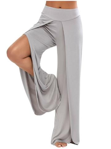 Pantalons Amples Casual Taille Élastique avec Fentes sur Côtés pour Femme