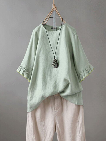 Solid Color Ruffle Sleeve T-shirt