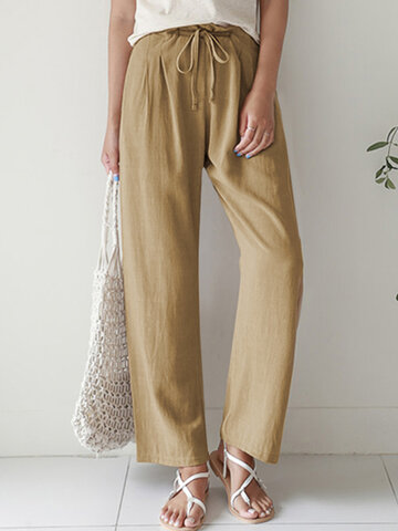newchic / Casual Elastic Waist Cotton Pants